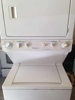 Frigidaire Stack washer and dryer - $550.00 with a 90 day parts and labor warranty.